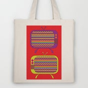 Image of Tote Bag / Natural Canvas Tote with Pocket - design 'Chevron TV'
