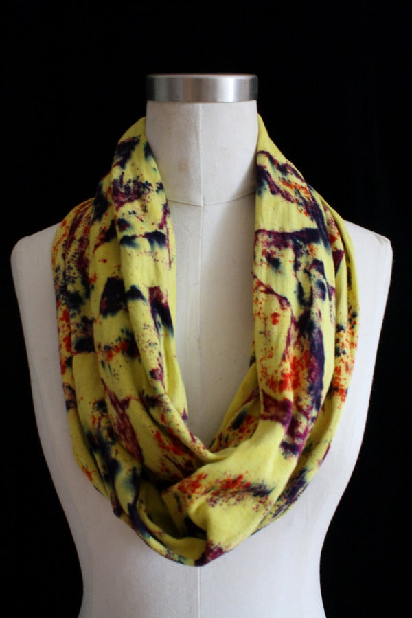 """Image of Circular Scarf, Chartreuse """"Cosmic Lava"""" Pattern"""