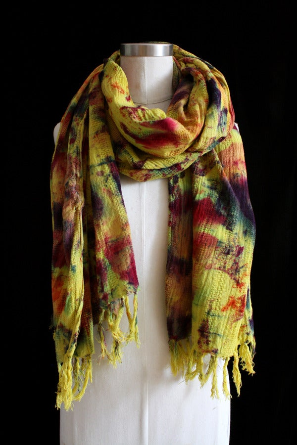 """Image of Handwoven Scarf, Chartreuse """"Sickle Spectrum"""" Pattern"""