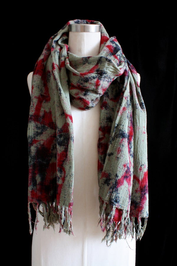 """Image of Handwoven Scarf, Sage """"Magmatic Earthquake"""" Pattern"""