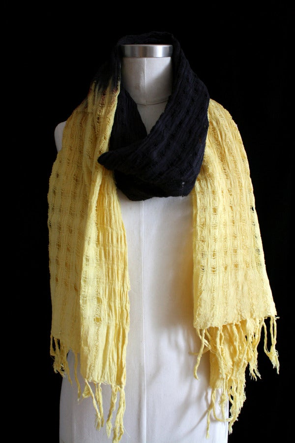 "Image of Handwoven Scarf, Black ""Ombre"" Pattern"