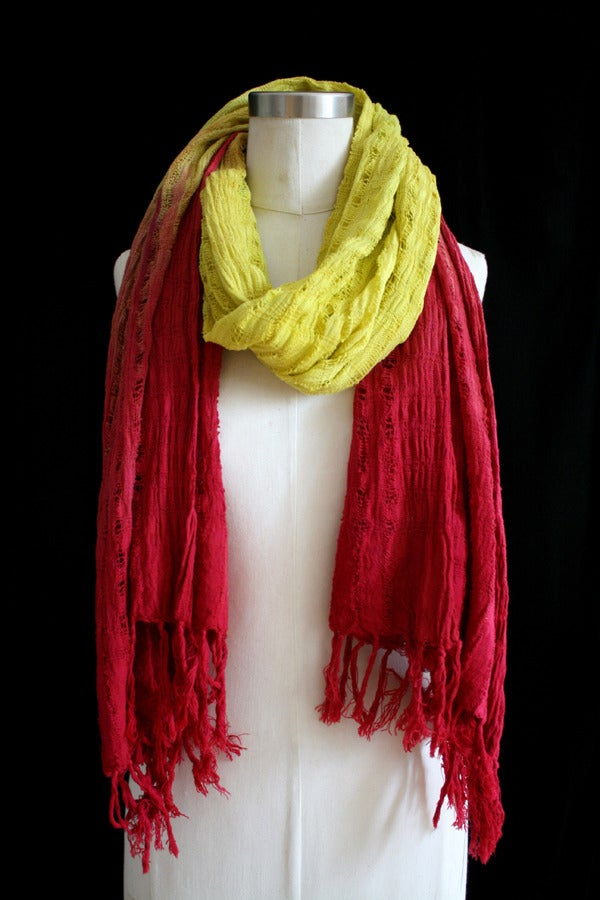 """Image of Handwoven Scarf, Chartreuse """"Ombre"""" Pattern"""