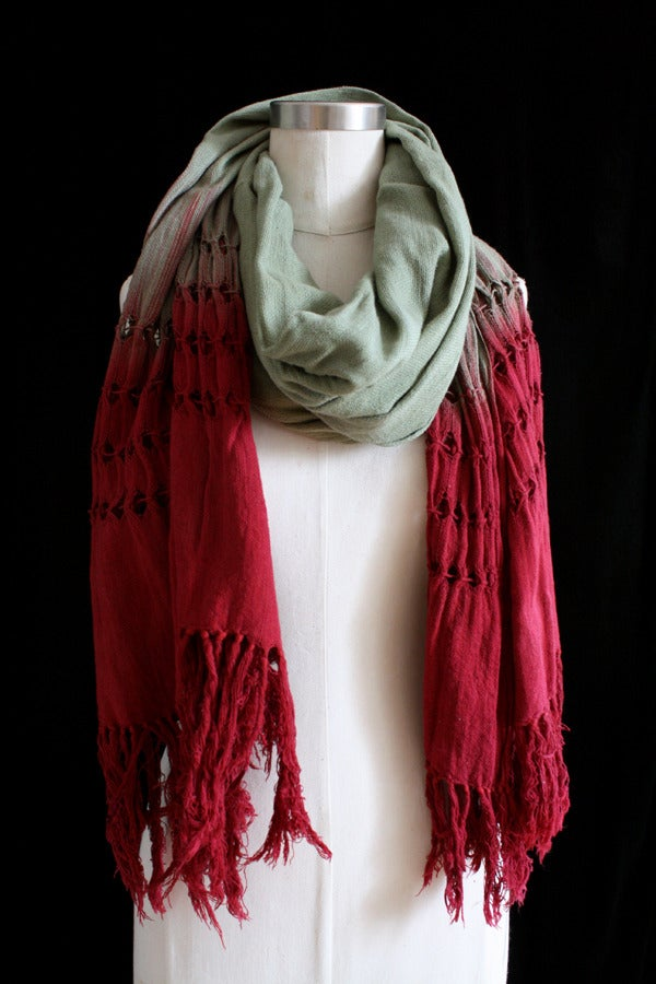 """Image of Handwoven Scarf, Sage """"Ombre"""" Pattern"""