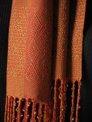 Image of Handwoven Scarf - Copper, red, orange & toffee / Beaded / Eco-friendly Tencel
