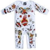 Image of Six Bunnies Baby Playsuit - Old School - White