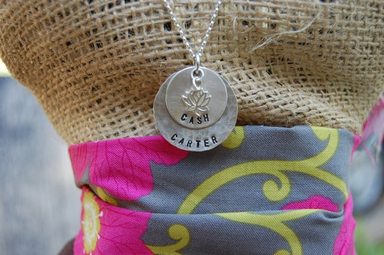 Image of Disc Necklace with Lotus Flower