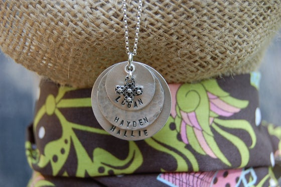 Image of Disc Necklace with Beaded Cross