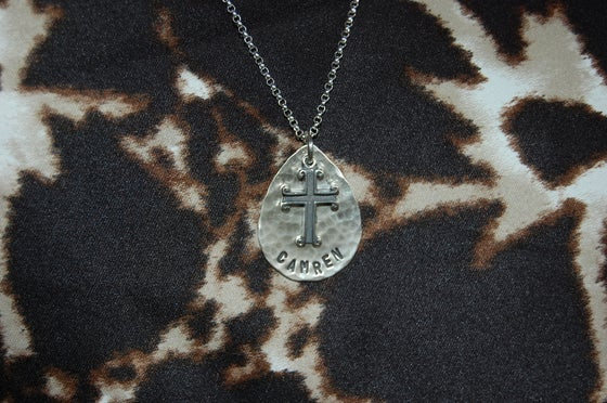 Image of Teardrop Necklace with Cross
