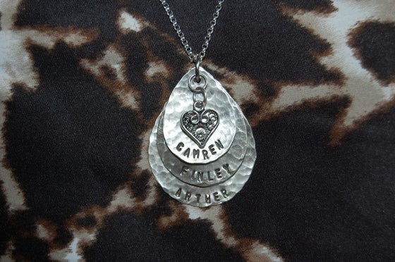 Image of Teardrop Necklace with Filagree Heart