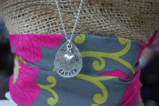 Image of Teardrop Necklace with Puff Heart