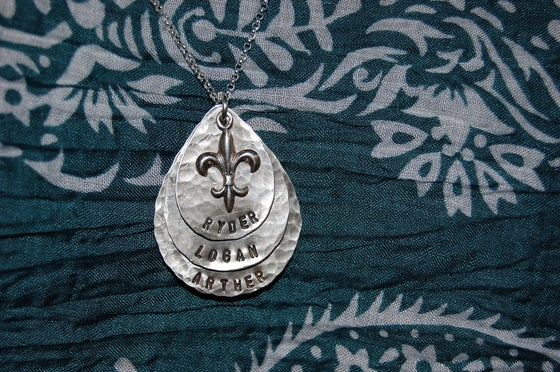 Image of Teardrop Necklace with Fleur De Lis