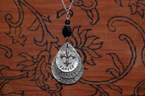 Image of Teardrop Necklace with Fleur de Lis and Black Beads