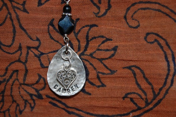 Image of Teardrop Necklace with Filagree Heart and Black Beads