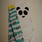Image of Panda Love Onesie with Panda Leg Warmers