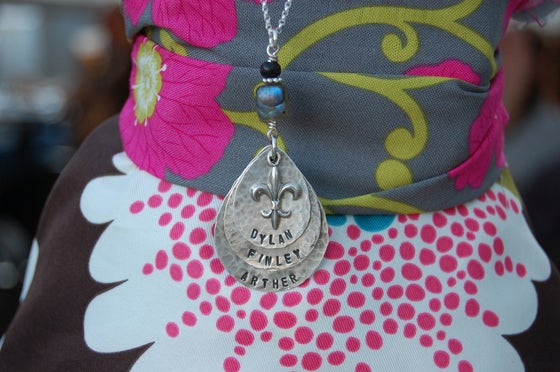 Image of Teardrop Necklace with Fleur de Lis and Green and Black Beads