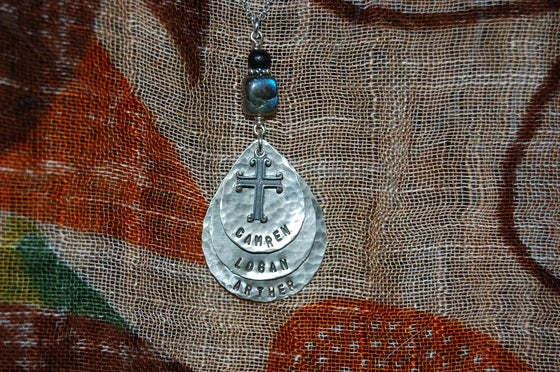 Image of Teardrop Necklace with Cross and Green and Black Beads