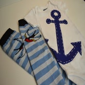 Image of Blue Anchor Onesie with Tattoo Inspired Flying Swallows Leg Warmers - Navy Nautical Baby