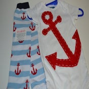 Image of Red Anchor Onesie & Anchor Leg Warmers - Navy Nautical Baby