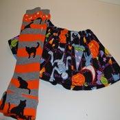 Image of Halloween Baby Girl Skirt with Halloween Cat Leg Warmers - LAST SET