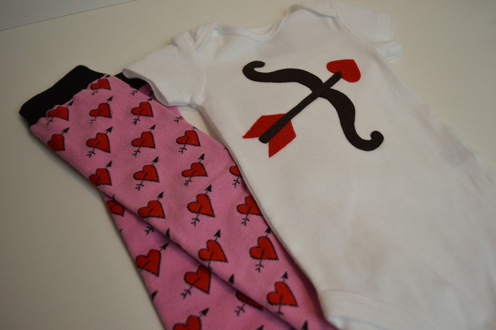 Image of Cupid's Bow Valentine Onesie with Matching Leg Warmers