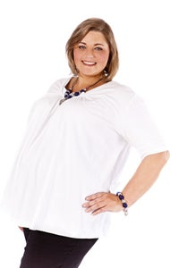 Image of Scoop neck top with short sleeves
