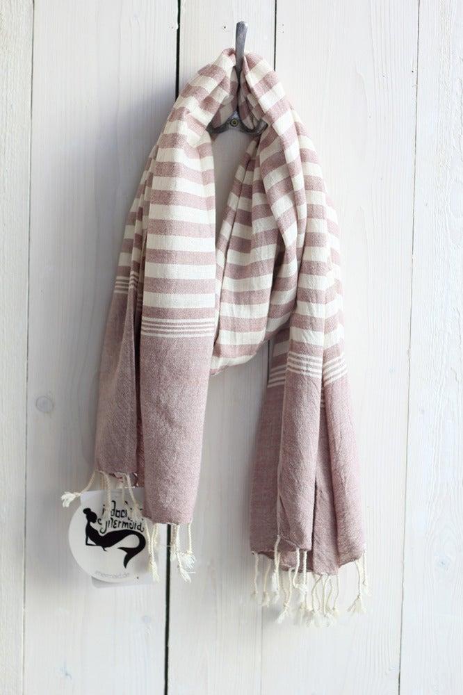 Image of Schal aus Baumwolle · puder - weiss gestreift ·