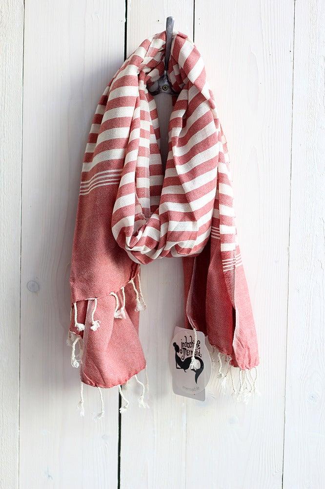 Image of Schal aus Baumwolle · rostrot - weiss gestreift ·