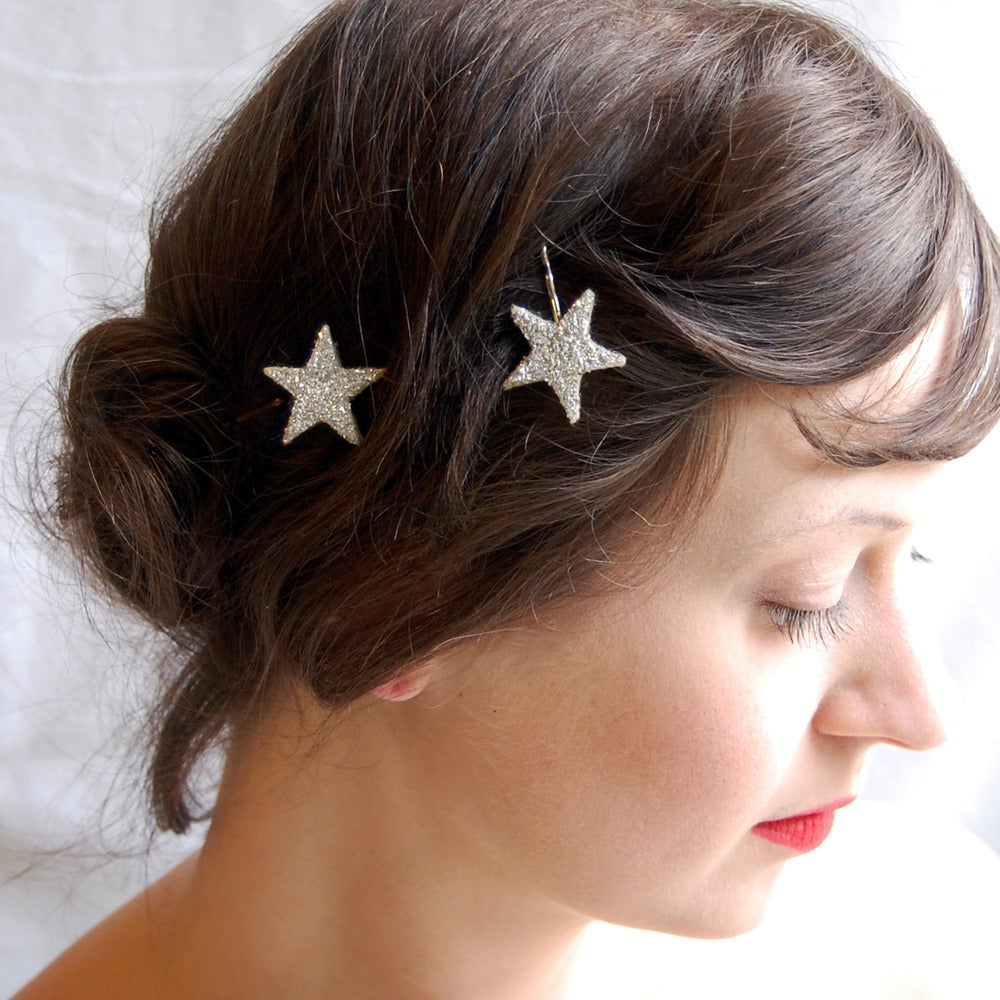 Image of Twinkle Sparkler Hair Pins Sterling Silver