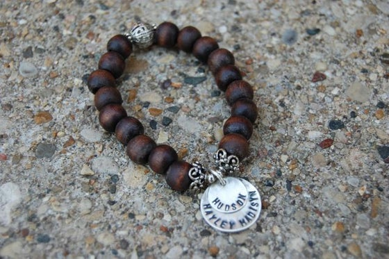 Image of Brown Wood Bead Bracelet with Sterling Discs