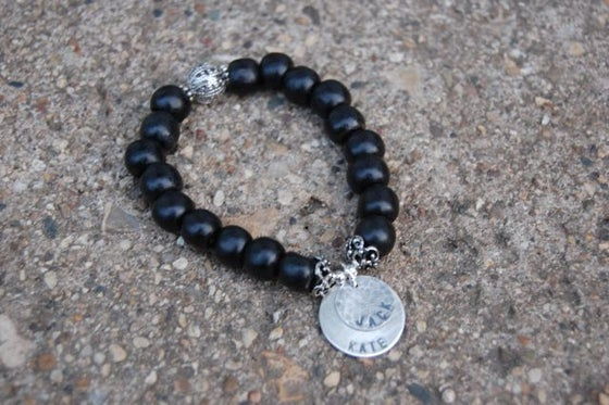Image of Black Wood Bead Bracelet with Sterling Discs