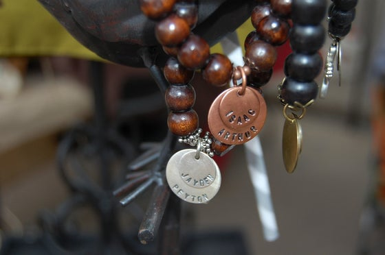 Image of Brown Wood Bead Bracelet with Copper Discs