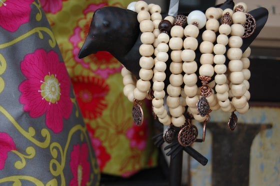 Image of Natural Wood Bead Bracelet with Sterling Discs