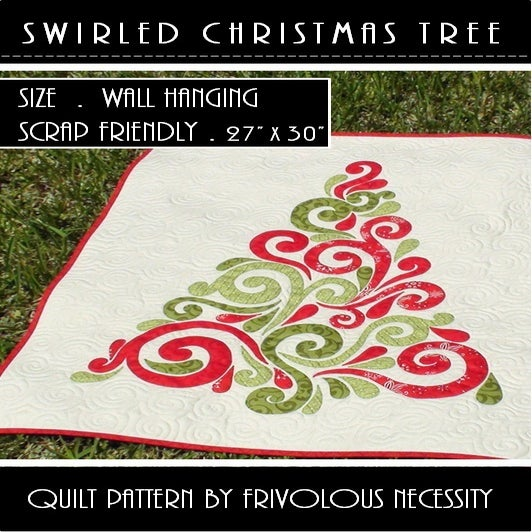Frivolous Necessity — Swirled Christmas Tree Quilt Pattern PDF