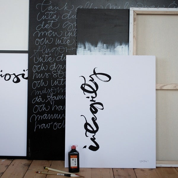 "Image of Swedish Calligraphy Print - ""Integrity"""