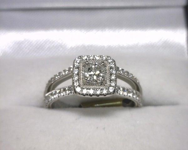 Image of 14K White Gold Diamond Engagement Ring (.33ct Cushion Center