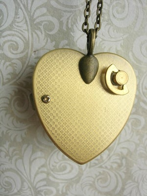 Image of Little Wing Miniature Music Box Locket floral yellows