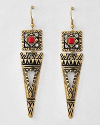 Image of Tribal Triangle Dangle Earrings