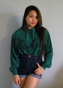 Image of Forest Green Fringed Blouse