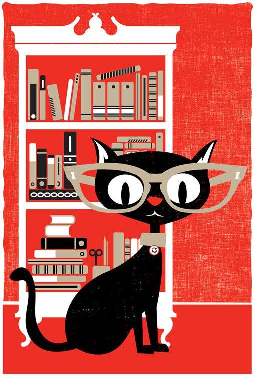 Image of Black Cat Lucky 13 Art Print