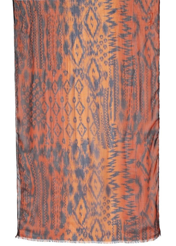 Image of Aztec Motif Printed Chiffon Scarf  - Brown