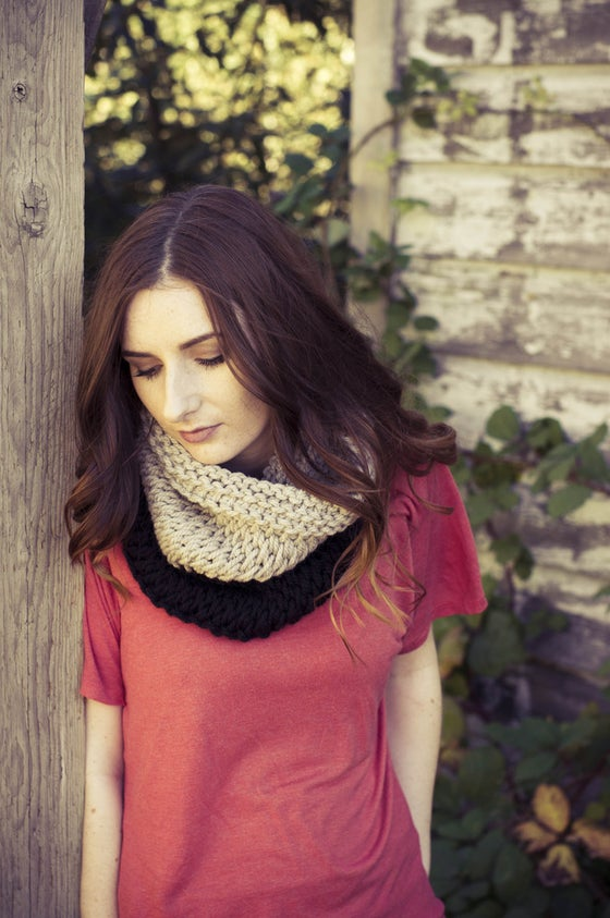 Image of Colour Block Cowl - black + oatmeal
