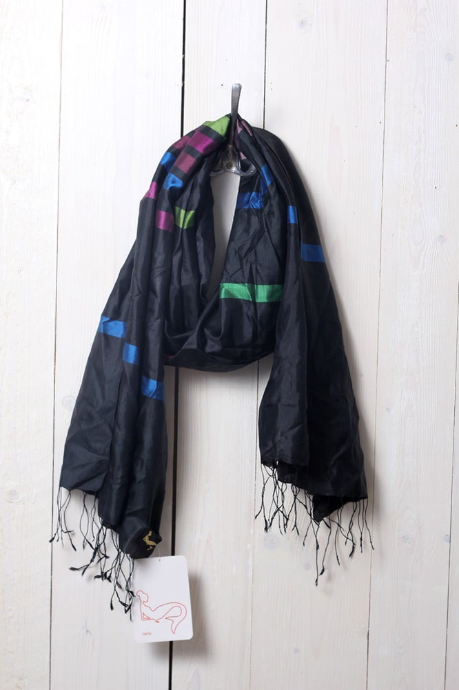 Image of Schal aus Seide · multicolor stripe #1