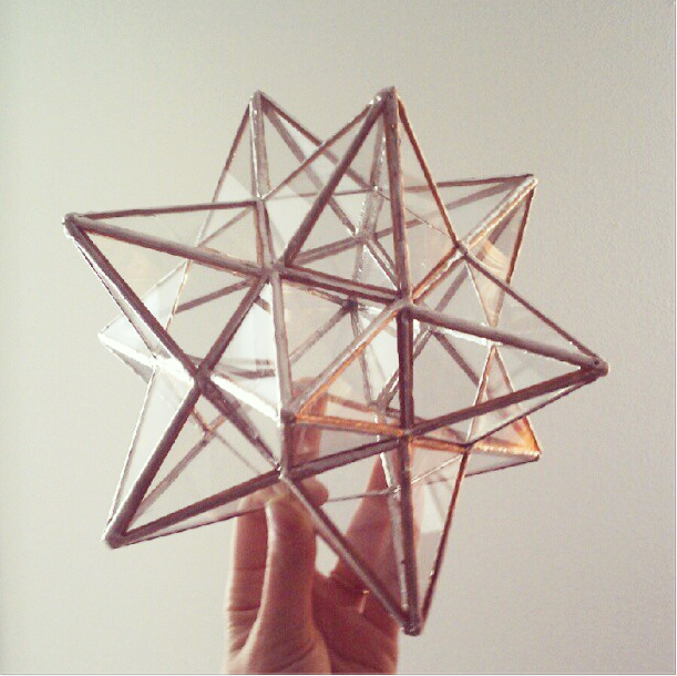 image of 12 pointed stained glass star tree topper - Glass Christmas Tree Topper