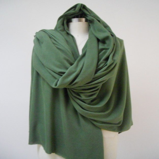 Image of MARIA SEVERYNA Oversized Blanket Wrap Scarf in Kelly Green Wool Jersey