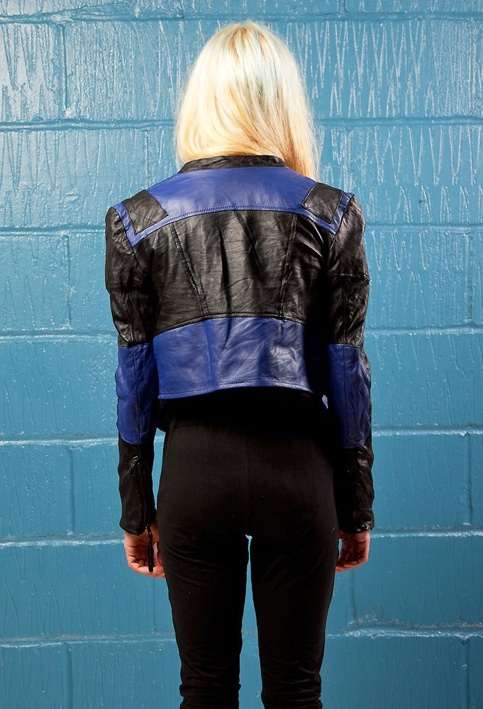 Image of Womens Blue and Black Biker Jacket
