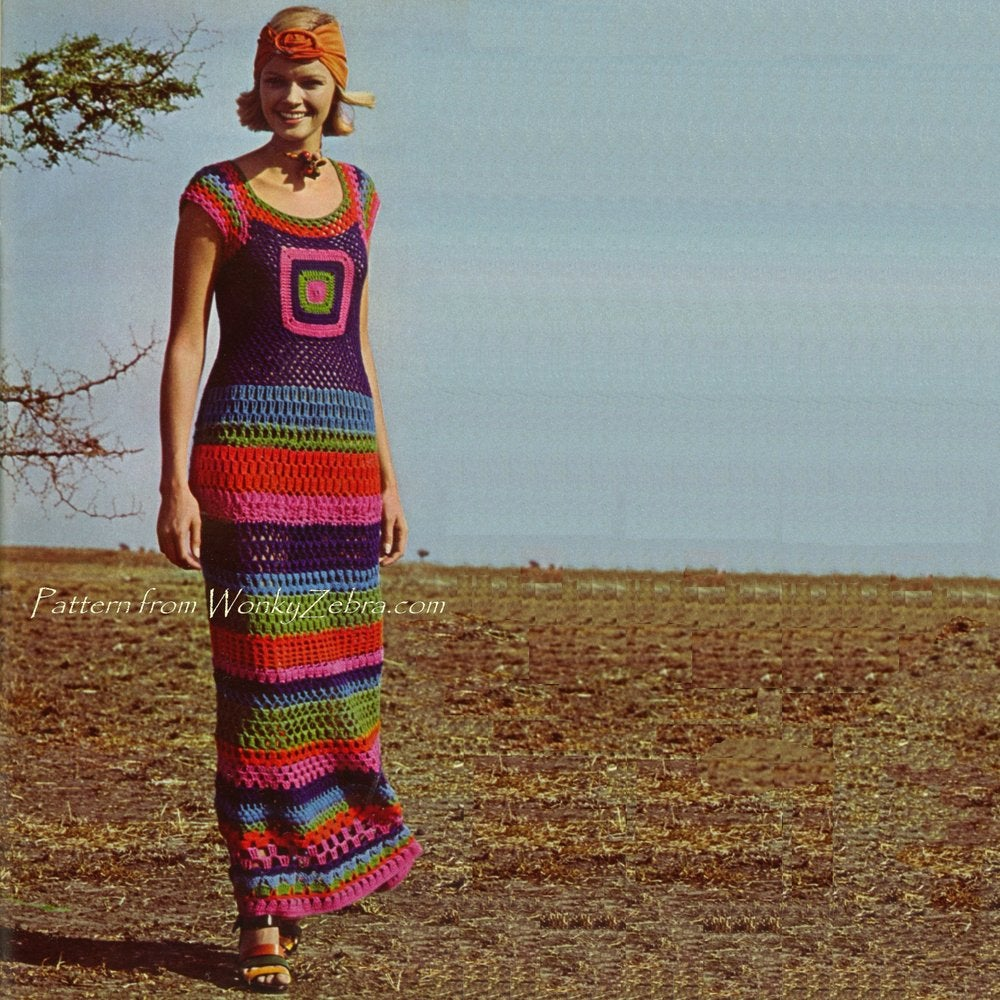 Crochet Granny Square Dress Patterns : Wonkyzebra ? Vintage Crochet Pattern PDF 134 Granny Square ...