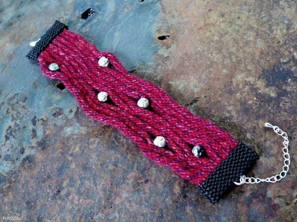 Image of SALE! Wine and Roses, handbeaded kumihimo cuff