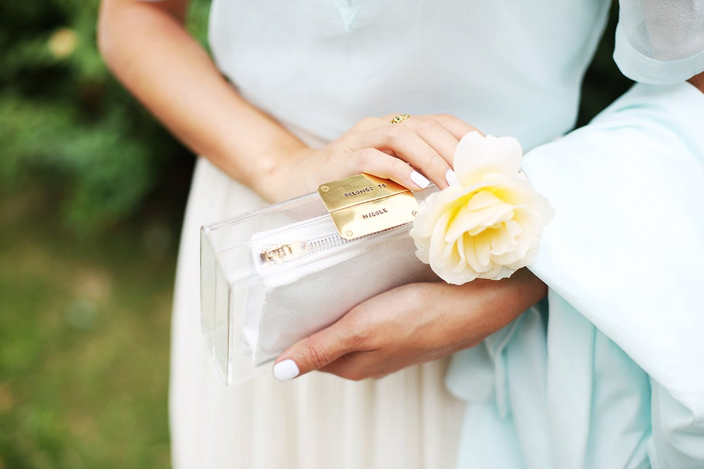 Image of Gold/Silver/Rose Gold Personalised Clear Clutch