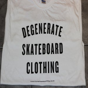 Image of Degenerate 'Varsity' logo t WHITE