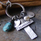 Image of Rustic little blessings.... hand stamped sterling silver cross necklace